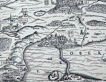 Rapperswil, Seedamm and medieval lake crossing between Rapperswil and Hurden, Obersee (Zürichsee) (upper Lake Zürich) and Jona (Jonen) on the so-called Murerplan (1566)