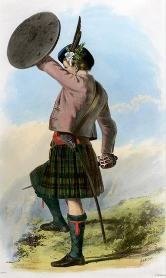 Clan Murray - A romanticised Victorian-era illustration of a Clan Murray Chieftain by R. R. McIan from The Clans of the Scottish Highlands published in 1845.