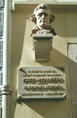 Josef Mysliveček - Bust on the Mysliveček house in Prague.