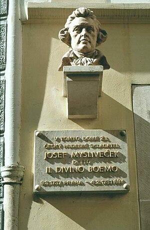 Josef Mysliveček - Bust on the Mysliveček house in Prague.