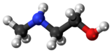 Ball-and-stick model of the N-methylethanolamine molecule