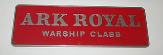 British Rail Class 41 (Warship Class) - The nameplate of D601 Ark Royal on display at the National Railway Museum. These were generally coloured red, but this was changed to black if the locomotive was repainted blue.