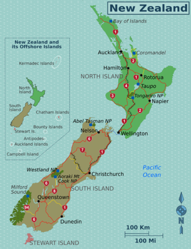 New Zealand Sightseeing Map.New Zealand Travel Guide At Wikivoyage