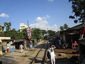 Narayanganj–Bahadurabad Ghat line - Narayangonj Bahadurabad Ghat Line at madrasa Quarter Railcrossing, Mymensingh