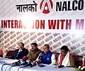 Narendra Singh Tomar, the Union Minister for Tribal Affairs, Shri Jual Oram and the Minister of State for Petroleum and Natural Gas (Independent Charge), Shri Dharmendra Pradhan at a press conference, in Bhubaneswar.jpg