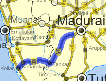 Road map of India with National Highway 208 highlighted in solid blue color