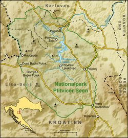 普利特維采湖群國家公園的位置