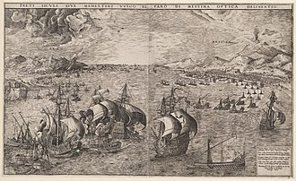 Genoese Navy - Genoese and Venetian fleets battling in the straits of Messina.