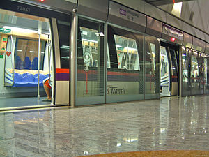 North East MRT Line - An Alstom Metropolis C751A train at Hougang, bound for HarbourFront.