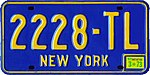 New York 1973 license plate - Number 2228-TL.jpg