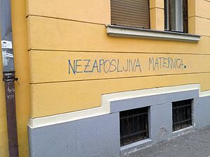 "Feminization of poverty - ""Unemployable uterus"", a graffito in Ljubljana, Slovenia"
