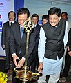 Nguyen Tan Dung and the Minister of State (Independent Charge) for Power, Coal and New and Renewable Energy, Shri Piyush Goyal lighting the lamp, at the India-Vietnam Trade & Investment Forum, in New Delhi.jpg