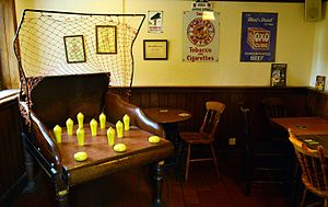 Broom, Bedfordshire - The traditional game of Nine Pin Bar Skittles at  The Cock, Broom, Bedfordshire.