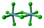 Ball-and-stick model of niobium pentachloride