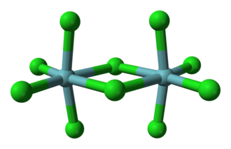 Niobium(V) chloride - Ball-and-stick model of niobium pentachloride