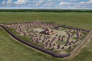 Nodena Phase - Artists conception of the Nodena Site ca. 1539, by Herb Roe
