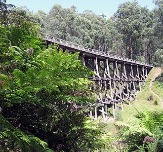 Noojee railway line - Preserved Noojee trestle bridge, December 2009