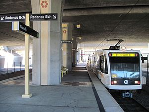 Norwalk station (Los Angeles Metro) - A LA Metro train waits at  Norwalk Station