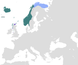 Norway at its greatest extent, around 1263