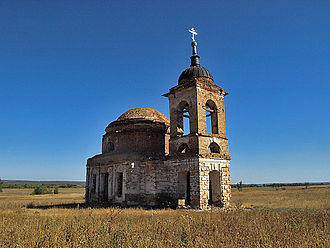 Rural flight - The defunct church in the abandoned village Novospasskoye, Saratov Oblast, Russia