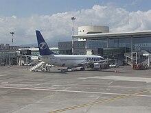 Visuale dell'aeroporto dal piazzale velivoli.