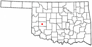 New Cordell, Oklahoma - Image: OK Map doton New Cordell