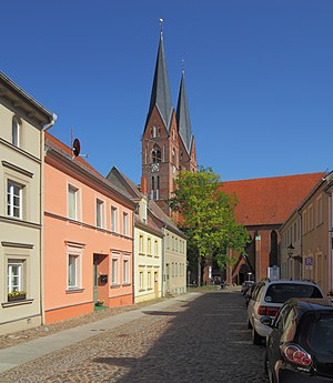 Neuruppin - Street with Holy Trinity Church