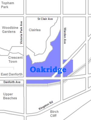 Oakridge, Toronto - Image: Oakridge map