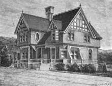 Engraving of a two-story house with gabled roof and Tudor accents.