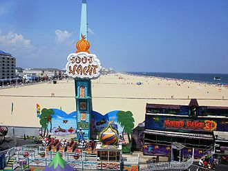 Jolly Roger at The Pier amusement park located directly on the Ocean City beach Ocean City rides on the beach.JPG