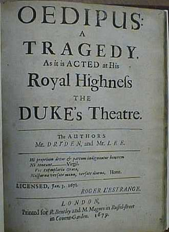 Oedipus (Dryden play) - Title page of Oedipus: A Tragedy (1679).