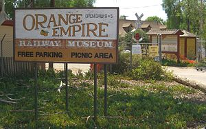 Orange Empire Railway Museum - The museum entrance