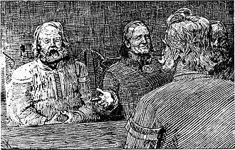 Sigurd Syr - Sigurd Syr with Åsta, Olav and Rane.  Christian Krohg: Illustration for Olav den helliges saga, Heimskringla (1899)