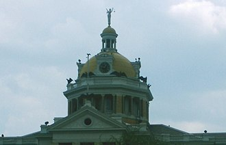 Old Harrison County Courthouse (Texas) - A detail of the northern face of the Old Courthouse's dome.