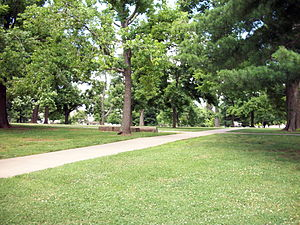 University of Arkansas Campus Historic District - Old Main Lawn near Ozark Hall.