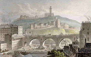North Bridge, Edinburgh - The old North Bridge, from the west, with Calton Hill in the background, in 1829