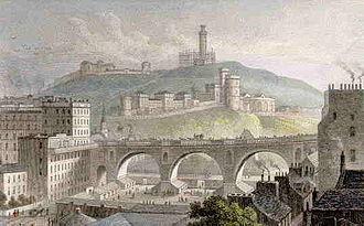 William Mylne - Mylne's North Bridge, with Calton Hill in the background, in 1829