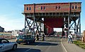 Old bridge on A554 Tower Road from south with bascule span partially raised (2014).jpg