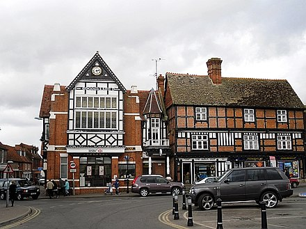 The Old Town Hall (left), built in 1877, and a 17th-century building (right) Old buildings, Wantage Market Place - geograph.org.uk - 1321063.jpg