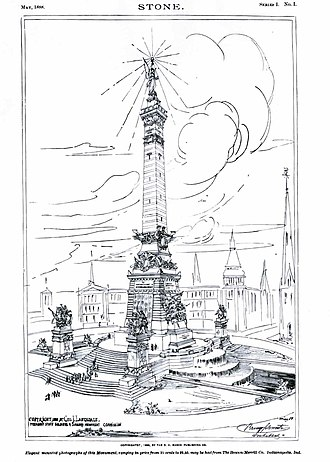 Soldiers' and Sailors' Monument (Indianapolis) - 1888 rendering of the monument from STONE magazine