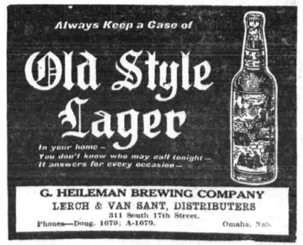 Newspaper for Old Style Lager, from 1911. Old style lager ad.png