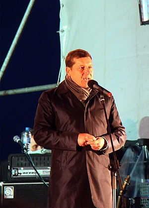 Oleg Sorokin congratulate citizens on The Day of the city (2011).jpg