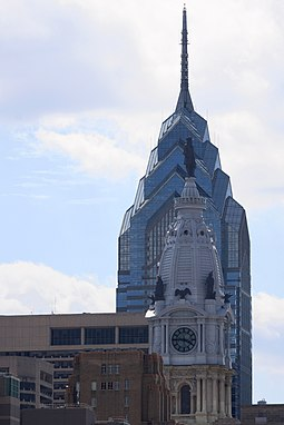 Juxtaposition of architectural styles in Center City, showing One Liberty Place and City Hall OneLiberyPlacePhiladelphia cropped.jpg
