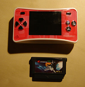 A One Station handheld console with game