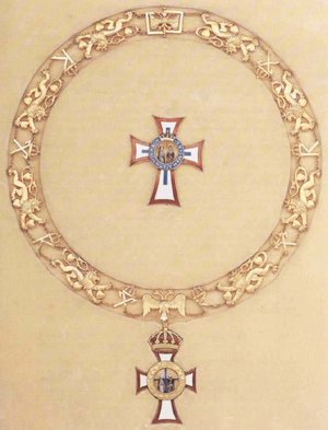 Order of Saints George and Constantine - Collar of the Order of Saints George and Constantine, featuring Byzantine double-headed eagles, the lions and hearts of the coat of arms of Denmark, and the royal cyphers of Kings George I and Constantine I.