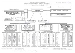 Prefect (Romania) - Organisational chart for the Hunedoara County Prefecture (2009)