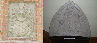 Raudonė Castle - Image: Original coat of arms of owners of Raudonė Castle Krispin Kirschenstein and Sophia von Pirch Kaiserov