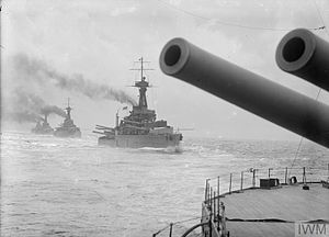 HMS Conqueror (1911) - The four Orion-class battleships in line ahead formation, after 1915