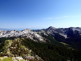 Orjen - View of Orjen with peaks Veliki kabao (right) and Vučji zub (left)
