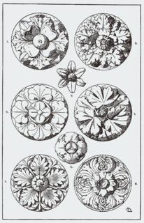Rosette (design) round, stylized flower design